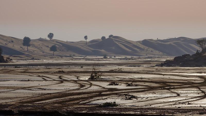 Flooded wadi near Fossil rock