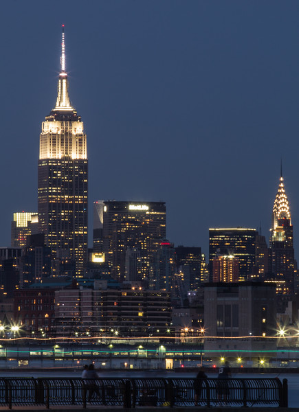 Empire State and Chrysler buildings at night