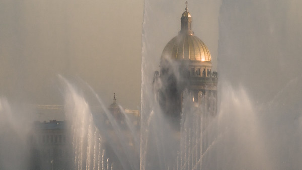 Issak Cathedral through fountains...