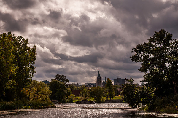 an uncommon view of the Peace Tower in Ottawa