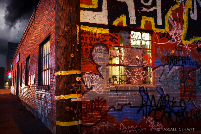 Graffiti brick building 2