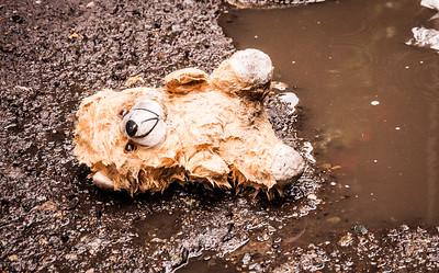 Sad lost stuffed bear