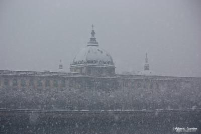 Lyon sous la neige - Hotel Dieu