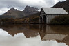 Dove Lake<br /> <br /> The iconic boat house is reflected in Dove Lake below Cradle Mountain in Tasmania.