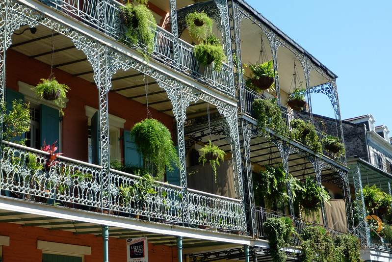 The absolutely beautiful buildings and flowers of the French Quarter on Ursulines Street - a close up view of the intricate railings and flowers - New Orleans. Please Follow Me! https://tlt-photography.smugmug.com/