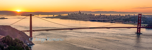 Panorama of San Francisco and the Golden Gate Bridge at Sunrise