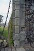 City Gate - Portón de Campo - at the wooden drawbridge into the town of Colonia del Sacramento - with beyond along the stone wall of the Bastión de San Miguel, to the Rio de la Plata (River of Silver).
