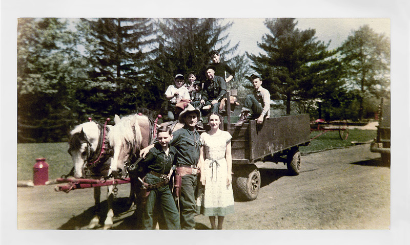 Harry, Lollii & others in horse drawn wagon - June 1950