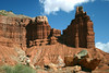 Western view of Chimney Rock - beyond the fractured sandstone boulders - Capitol Reef National Park
