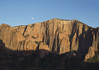 Days last sunlight atop Timber Top Mountain - was the moon arises beyond - Zion National Park