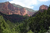 Fom the La Verkin Creek Trail, just south of the Lee Pass Trailhead - viewing northeast to the Paria Point (L) and Beatty Point (R), the western tips of the Buck Pasture Mountain, and north end of the Kolob Fingers - Zion National Park (Kolob Canyons District).  Kolob is a star (or planet) described in Mormon scripture, there is also reference to Kolob found in the Book of Abraham, a work published by Latter Day Saint (LDS) prophet Joseph Smith, Jr., and according to this work, Kolob is the heavenly body nearest to the throne or residence of God.