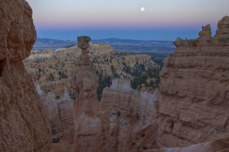 Full Moon - rising above Thor's Hammer - with Bristlecone Point behind - Bryce Canyon National Park