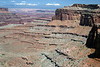 Along the rim of the Island in the Sky Mesa - down to Buck Canyon - Canyonlands National Park - to the distal snow-capped La Sal Mountains