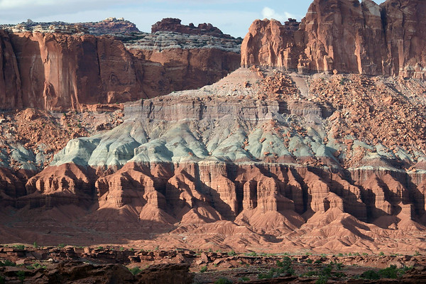 Afternoon sunlight upon the Moenkope, Chinle and Wingate strata - above Whiskey Flat - Capitol Reef National Park