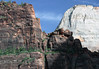 """Across the partially shaded ridge of """"The Organ"""" (eastern arm of Angels Landing, forming the """"Big Bend"""") - to the sunlit Navajo sandstone, along the upper north face of """"The Great White Throne"""" - Zion National Park"""