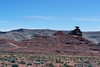 Across the scrub bush - to Mexican Hat Rock - and the rim of the Nokaito Bench along the horizon - Navajo Nation
