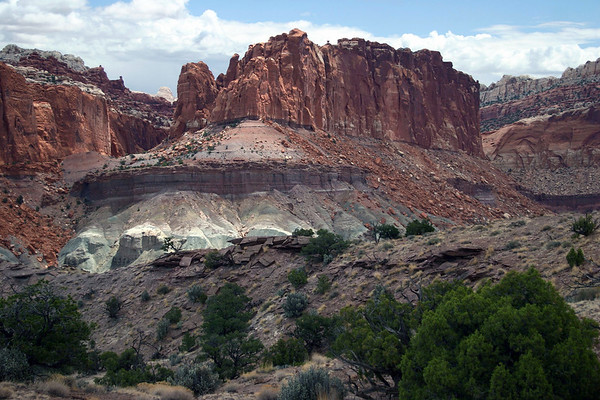 Sunlight on the Chinle Formation - below the Wingate sandstone - the butte just north of Whiskey Flat - from along the Chimney Rock Trail - Capitol Reef National Park