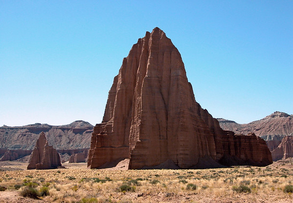 Temple of the Sun and Moon - Cathedral Valley - against the naked sky of the, Capitol Reef National Park