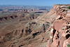 """Along the southern cliff wall of """"Island in the Sky"""" Mesa - out to the eastern cliff wall of Junction Butte - down 1,000 ft. + (305 m), to the White Rim below - Canyonlands National Park (1964)"""