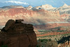 From the shaded sandstone rock at Sunset Point - across to the western face of the Waterpocket Fold - Pectols Pyramid and Ferns Nipple - Capitol Reef National Park - to the distal snow-capped Henry Mountains