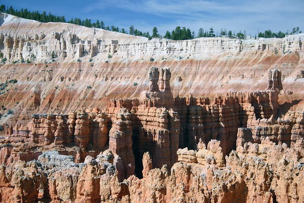 Hoodoos of Silent City - with the rim of the Paunsaugunt Plateau behind - Bryce Canyon National Park