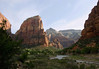 Early morning sunlight upon Angels Landing, rising around 1,500 ft. (457 m) above the the North Fork Virgin River, in the Zion Canyon - with the sunlit slope of Cathedral Mountain (L) - and the shaded lower slope of The Great White Throne (R) - and The Organ (below right of Angels Landing, and Observation Point, directly above and beyond The Organ -  Zion National Park