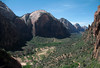 From the western slope of Angels Landing - out the mouth of Refrigerator Canyon, with the sunlit lower slope of Cathedral Mountain (R) - to the North Fork Virgin River and Zion Canyon - with The Great White Throne, Red Arch Mountain, Mountain of the Sun, Twin Brothers, and the distal Mount Spry comprising the eastern canyon wall - Zion National Park