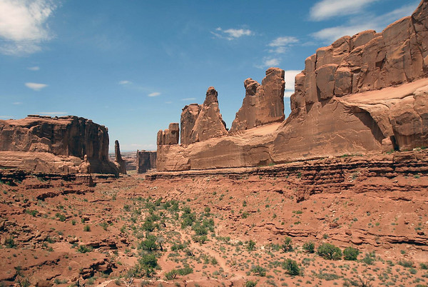 Park Avenue - down the the salmon colored Entrada sandstone - to Sheep Rock and the Tower of Babel - Arches National Park