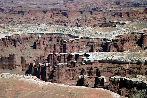 Monument Basin area - composed of White Rim sandstone stratum caprock - above the Organ Rock shale - Canyonlands National Park