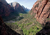 From Refrigerator Canyon - viewing southwest down the North Fork Virgin River and sandstone walls of Zion Canyon - Zion National Park
