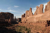 Afternoon sunlight upon, Park Avenue - down to the shadowed Sheep Rock and Tower of Babel - Arches National Park