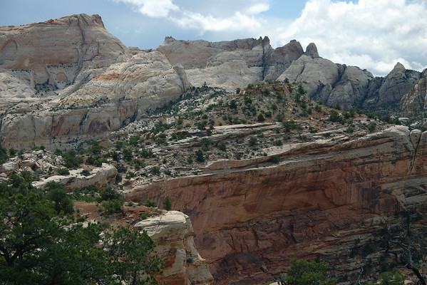 Along the north rim of Capitol Gorge, which is the stratum of Kayenta sandstone below and Navajo sandstone above - to the ridge top of  Waterpocket Fold - from along the Golden Throne Trail - Capitol Reef National Park