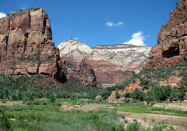 From the North Fork Virgin River, in Zion Canyon - up to Angels Landing - The Organ - Observation Point - and the lower slope of The Great White Throne (R), with the shaded sandstone alcove - Zion National Park