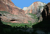 """From the partially shaded eastern end of """"The Organ"""" - at the """"Big Bend"""", in Zion Canyon - with its confluence with Echo Canyon, at the base of Cable Mountain - Zion National Park"""