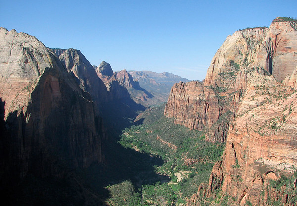 From the peak atop Angels Landing, about 1,500 ft. (457 m) down to the North Fork Virgin River, and southward down the Zion Canyon - Zion National Park - with the Eagle Crags West and Lower Mountain West along the distal horizon