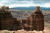 Chimney Rock - down to the Sulphur Creek Gorge - Capitol Reef National Park - to the distal snow-capped Boulder Mountains (Aquarius Plateau), in the Dixie National Forest