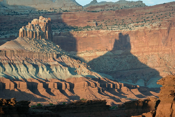 The Castle's late evening apex shadow, upon the vertical Windgate sandstone cliff wall - Capitol Reef National Park
