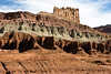 The Castle - mid morning dark shadows, along the lower Moenkope sandstone stratum - Capitol Reef National Park