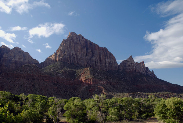 Johnson Mountain, at 6,170 ft. (1,881 m) - just north of the East Fork Virgin River, with its confluence at the North Fork Virgin River - with the Watchman, rising to 6,545 ft. (1,995 m) to the left of Johnson Mountain - Zion National Park
