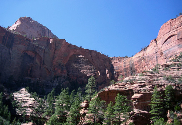 Kolob Arch - measuring 287 ft. (88 m) - located between the northeastern slope of Gregory Butte (seen above the arch) and southeastern slope of Timber Top Mountain - Zion National Park (Kolob Canyons District)