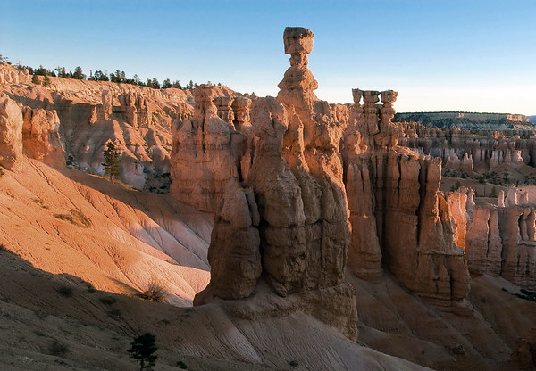 Sunrise on Thor's Hammer - with Boat Mesa along the distal horizon - Bryce Canyon National Park