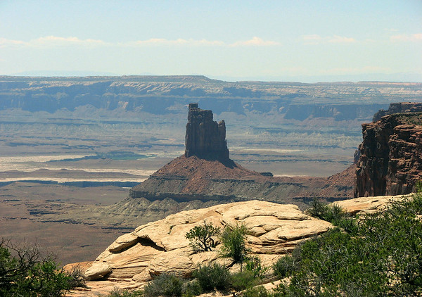 Over the rim of Island in the Sky Mesa - to the Candlestick Tower - and the Soda Springs Basin - Canyonlands National Park