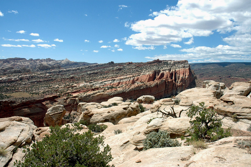 Across the Grand Wash - southward along the western rim of the Waterpocket Fold - to Ferns Nipple - under the cumulus cloud sky at Capitol Reef National Park