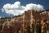 Along the rim of Bryce Canyon - between Bryce Point and Inspiration Point, under the cumulus cloud - Bryce Canyon National Park