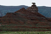 Dawn upon Mexican Hat Rock - up to the western rim of the Nokaito Bench - in the Navajo Nation