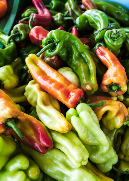 Italian frying peppers at a farmer's market