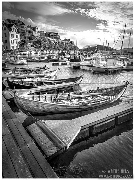 The Faroe Boats   Black and White Photography by Wayne Heim