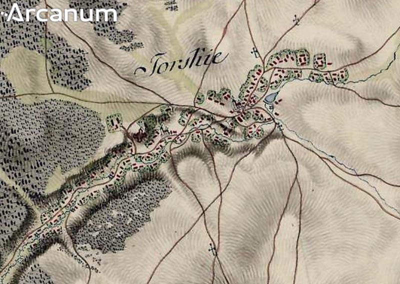 Село ТОРСЬКЕ на мапі Першого військового обстеження королівства Галичини 1784