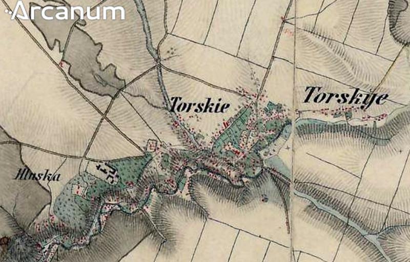 Село ТОРСЬКЕ на мапі Третього військового обстеження королівства Галичини 1869