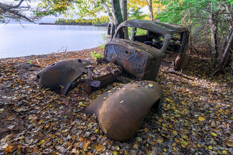 30s Chevy on a Lake Superior beach